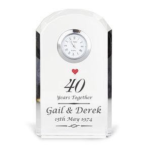 Engraved Ruby Anniversary Crystal Clock - Product number 3499057