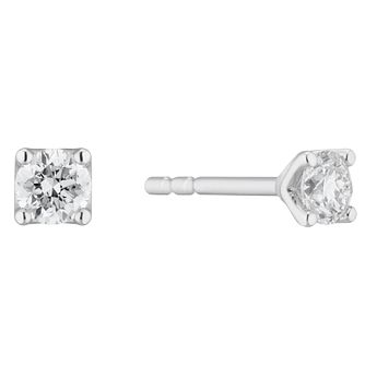 Platinum 1/4ct Diamond Brilliant Cut Solitaire Stud Earrings - Product number 3499111