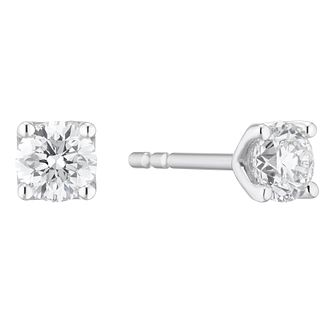Platinum 1/2ct Diamond Brilliant Cut Solitaire Stud Earrings - Product number 3499170