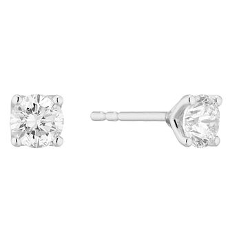 Platinum 2/3ct Diamond Brilliant Cut Solitaire Stud Earrings - Product number 3499197