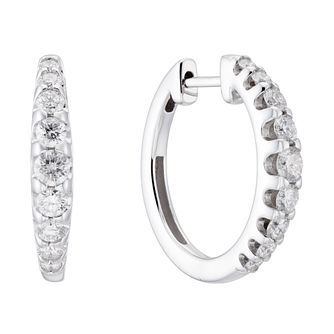 9ct White Gold 1ct Diamond Gradient Hoop Earrings - Product number 3499200