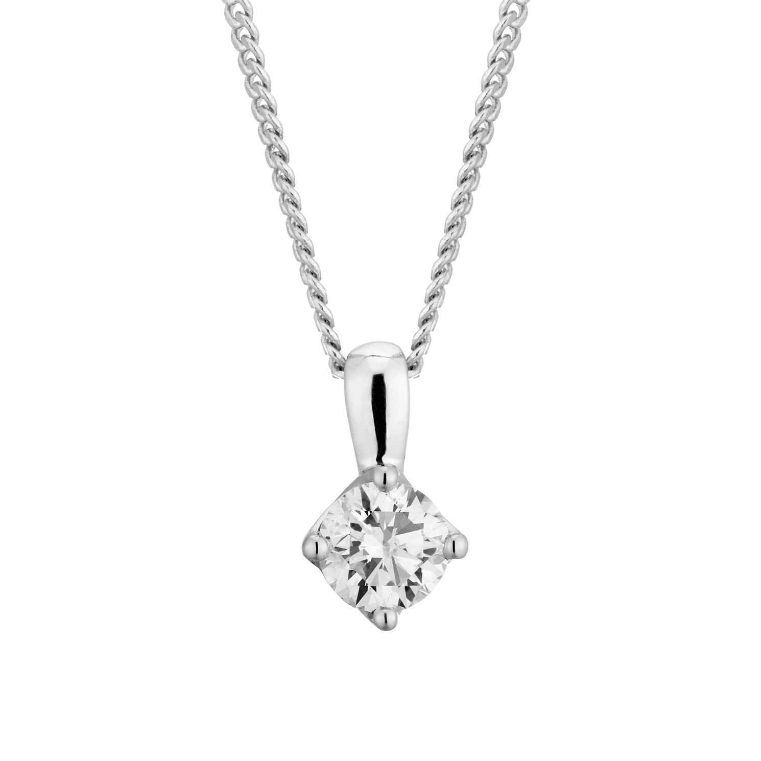 Platinum 1/5ct Diamond Brilliant Cut Solitaire Pendant - Product number 3499375