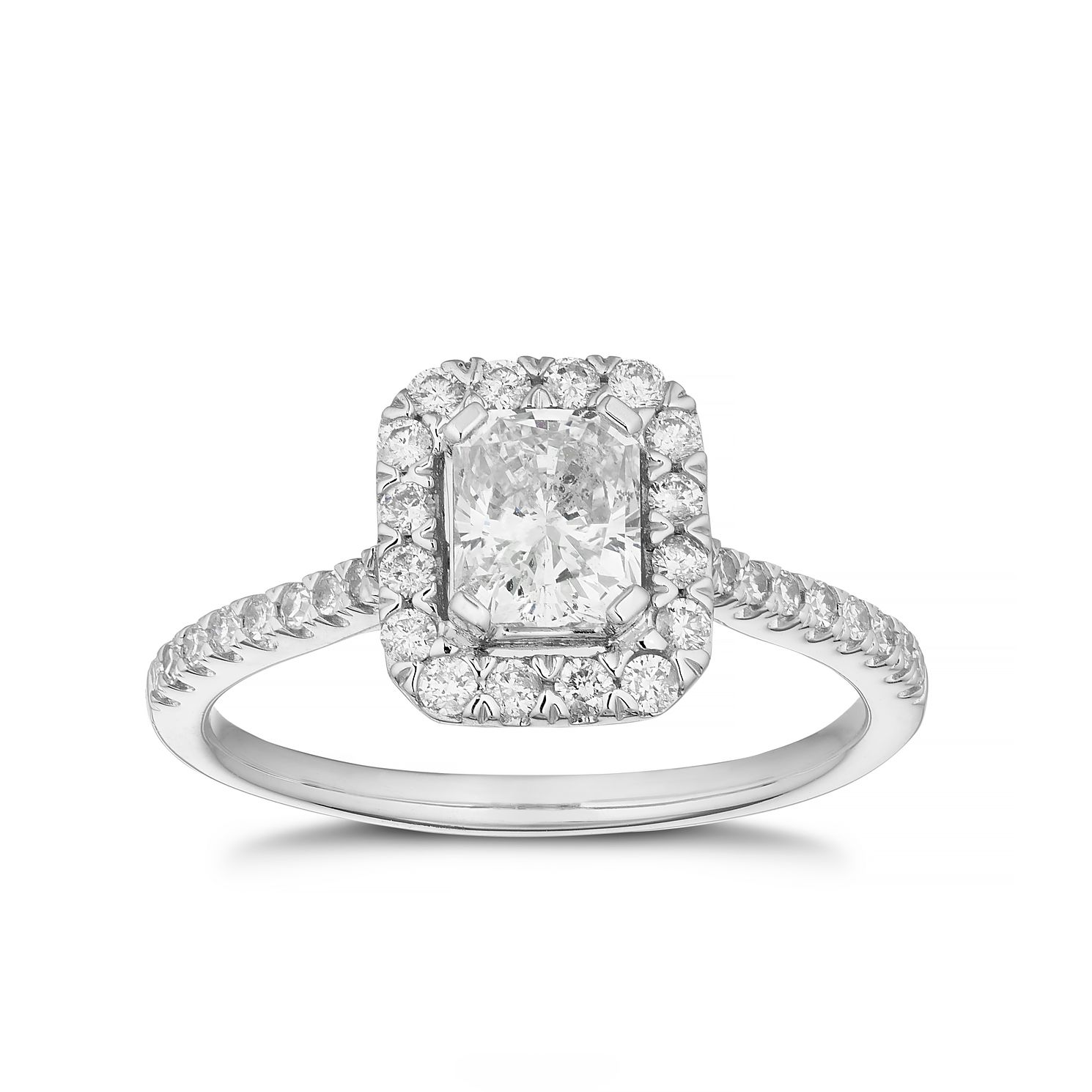 18ct White Gold 1ct Total Diamond Radiant Cut Halo Ring - Product number 3501361