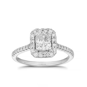 18ct White Gold 1ct Diamond Radiant Cut Halo Ring - Product number 3501361