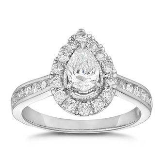 18ct White Gold 1ct Diamond Pear Cut Halo Ring - Product number 3502236