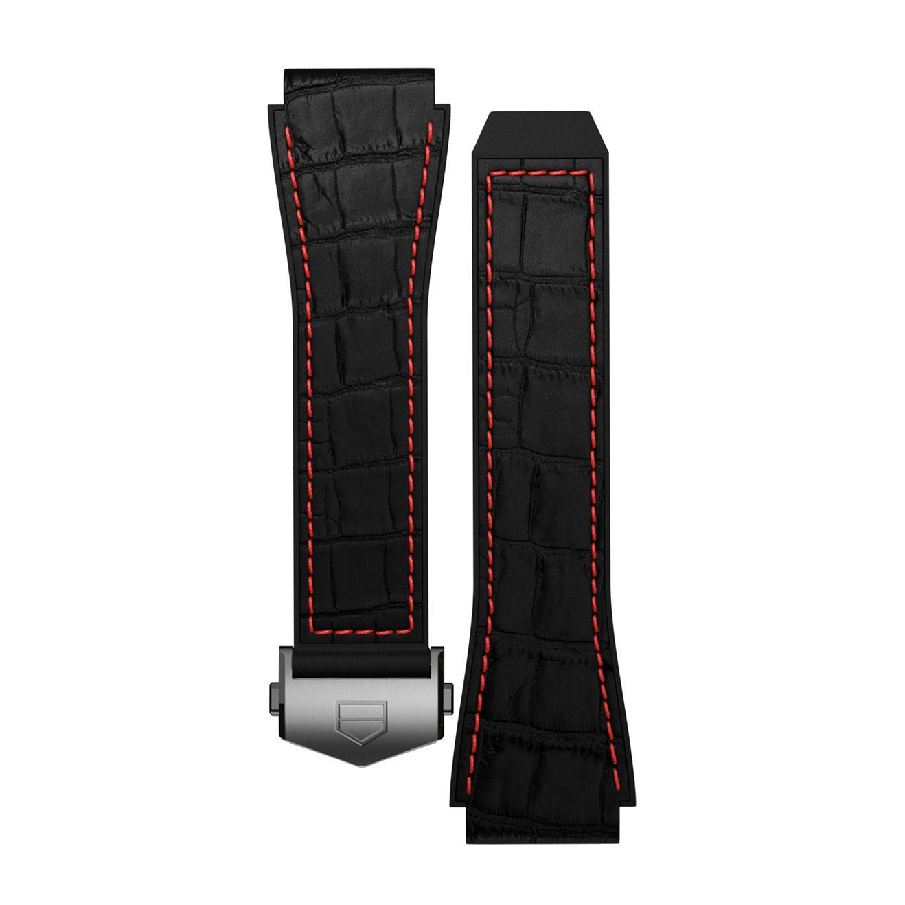 TAG Heuer Connected Black & Red Stitch Rubber Watch Strap - Product number 3510603