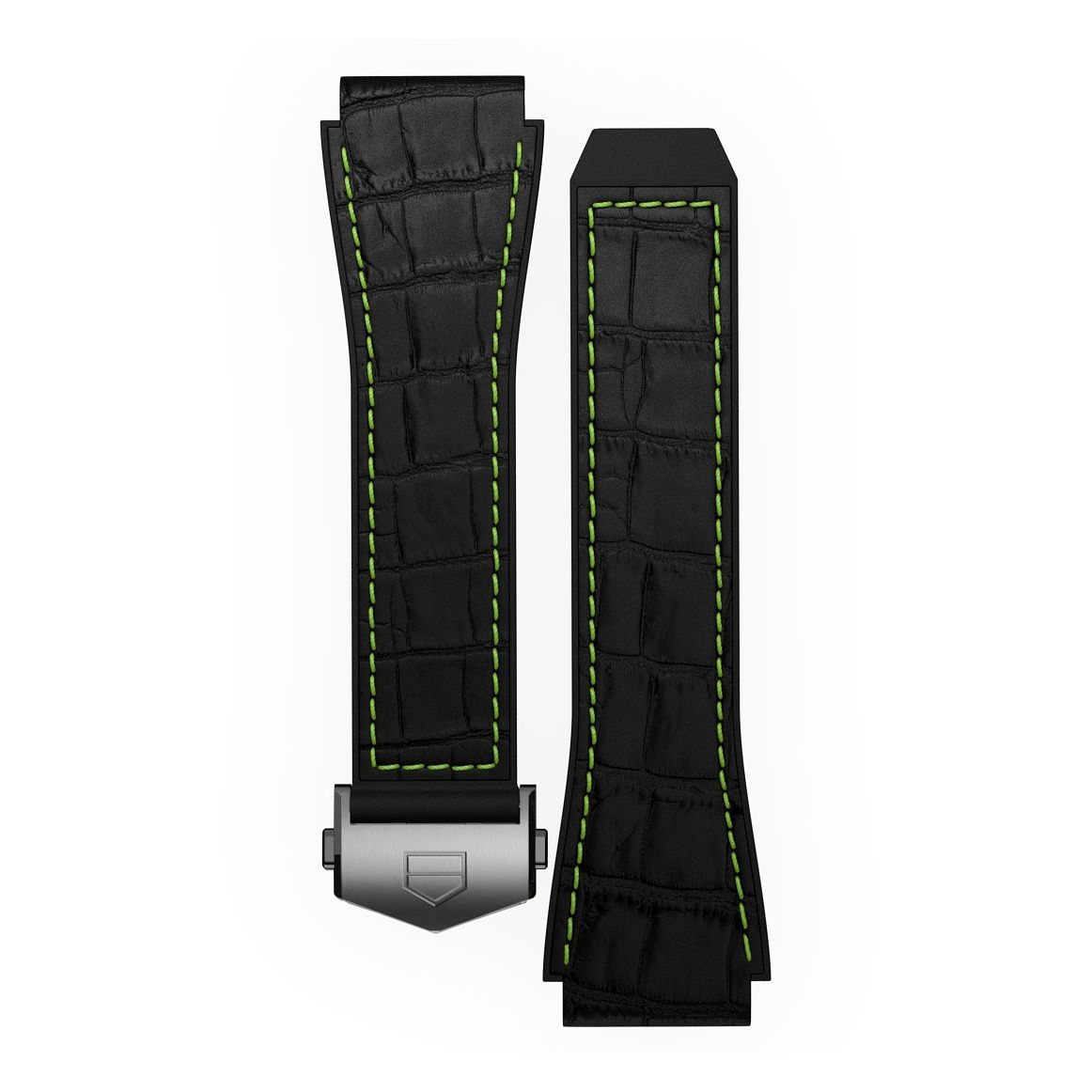 TAG Heuer Connected Black & Green Stitch Rubber Watch Strap - Product number 3510611
