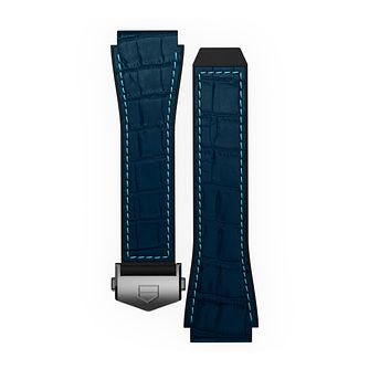 TAG Heuer Connected Black & Blue Stitch Rubber Watch Strap - Product number 3510638