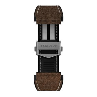 TAG Heuer Connected Brown Leather Watch Strap - Product number 3510654