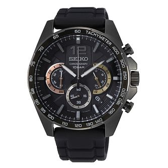 Seiko Chronograph Men's Black Silicone Strap Watch - Product number 3511774