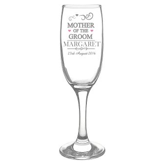 Personalised Mr & Mrs Mother of the Groom Glass Flute - Product number 3514544