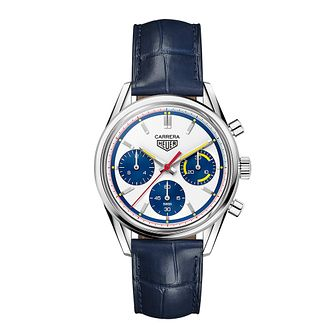 TAG Heuer Carrera Men's Blue Leather Buckle Watch - Product number 3514722