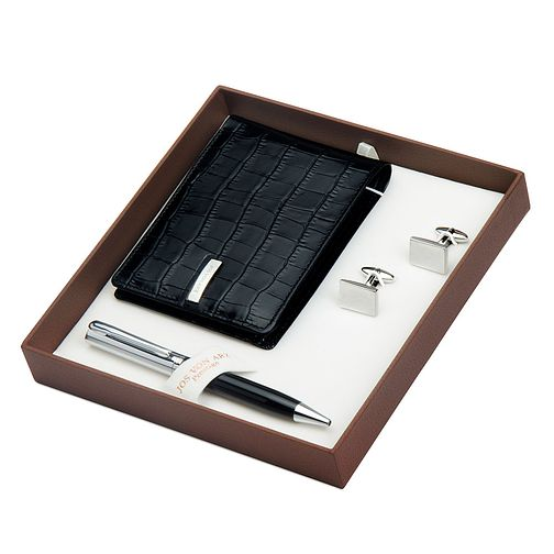 Jos Von Arx Leather Wallet, Cufflinks & Pen Gift Set - Product number 3520803