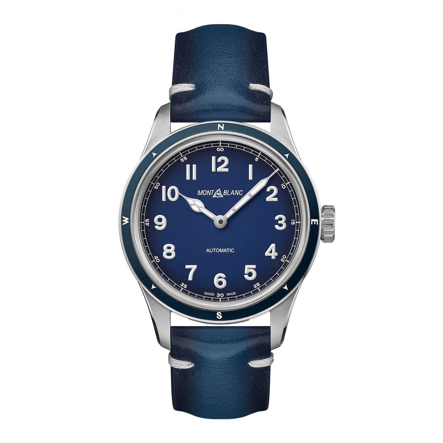 Mont Blanc 1858 Automatic Blue Leather Strap Watch - Product number 3524027