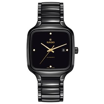 Rado True Square Diamond Men's Black Ceramic Bracelet Watch - Product number 3524248