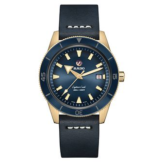 Rado Captain Cook Men's Blue Leather Strap Watch - Product number 3524531