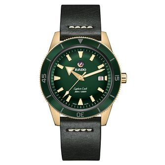 Rado Captain Cook Men's Green Leather Strap Watch - Product number 3524558