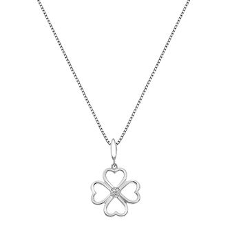 Silver Lucky Four Hearts Diamond Pendant - Product number 3528839