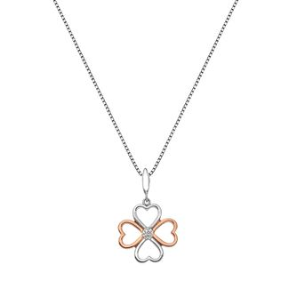 Silver & Rose Gold Tone Lucky Four Hearts Diamond Pendant - Product number 3528936