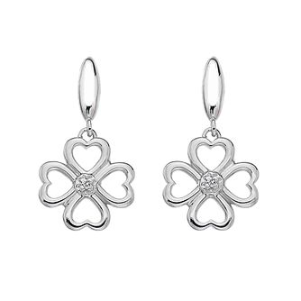 Silver Lucky Four Hearts Diamond Drop Earrings - Product number 3529436