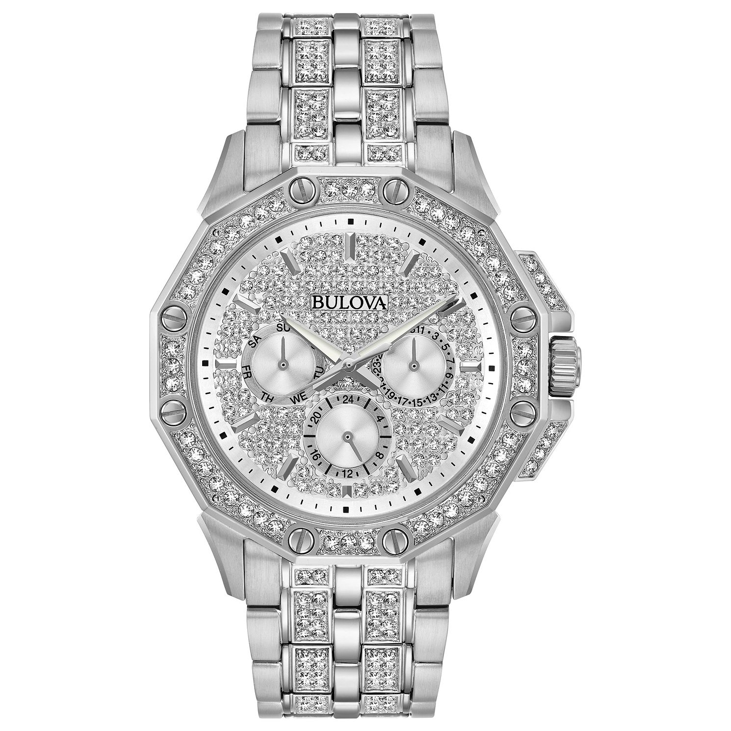 Bulova Crystal Men's Stainless Steel Bracelet Watch - Product number 3532445
