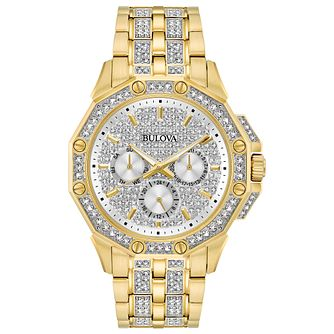 Bulova Crystal Men's Gold Tone Bracelet Watch - Product number 3532453