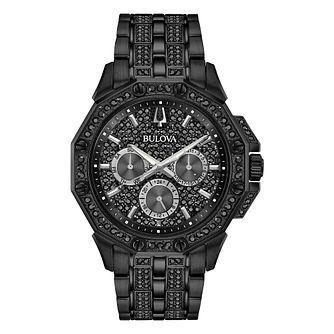 Bulova Crystal Men's Black Stainless Steel Bracelet Watch - Product number 3532690