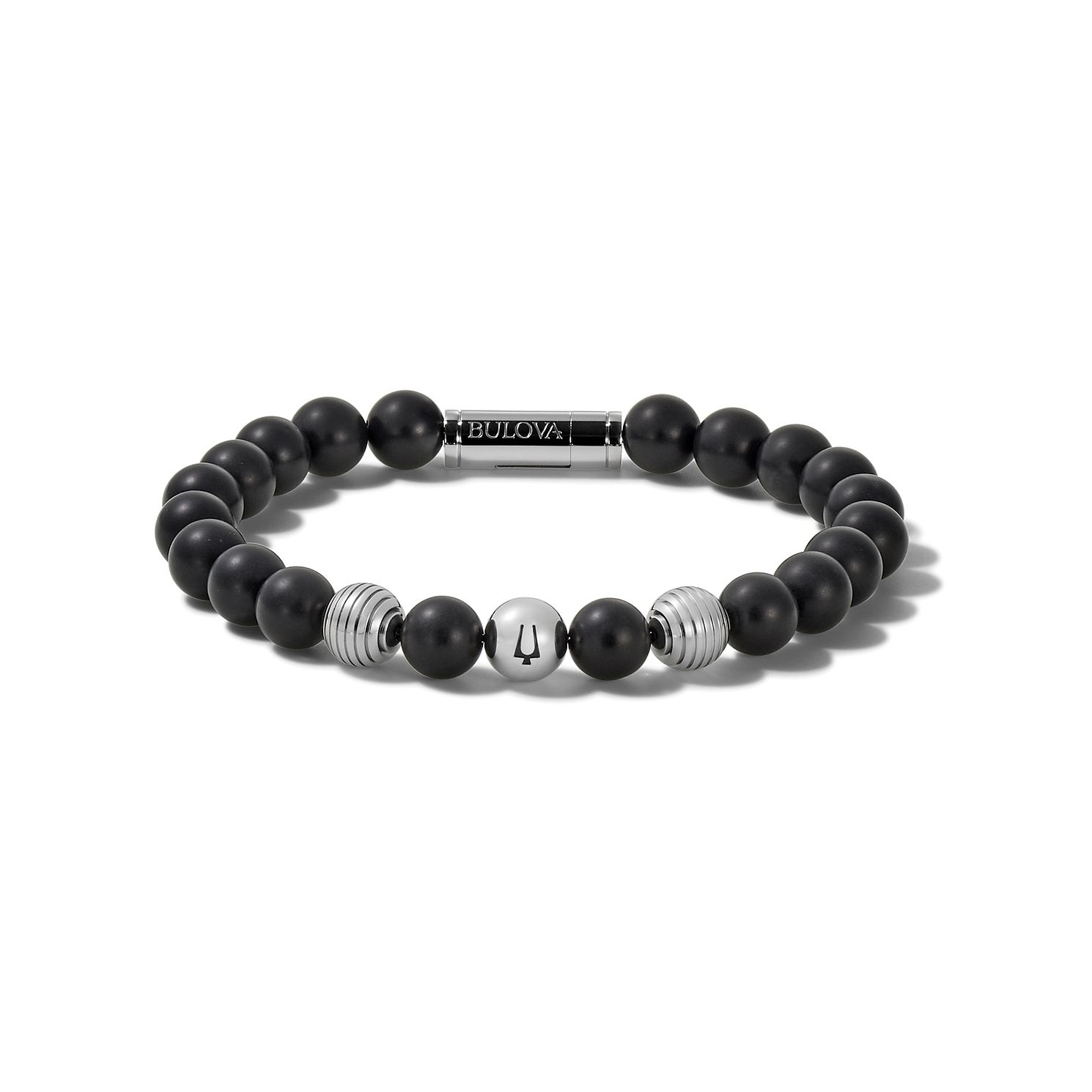 Bulova Onyx, Black Lava & Stainless Steel Bead Bracelet - Product number 3532844