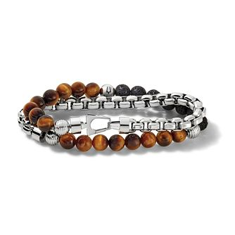Bulova Tiger Eye & Stainless Steel Double Wrap Bracelet - Product number 3532860