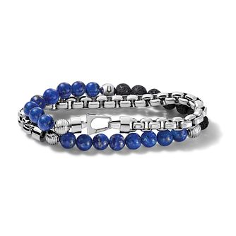 Bulova Lapis & Stainless Steel Double Wrap Bracelet - Product number 3532917