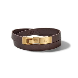 Bulova Brown Leather & Gold Tone Double Wrap Bracelet - Product number 3533026