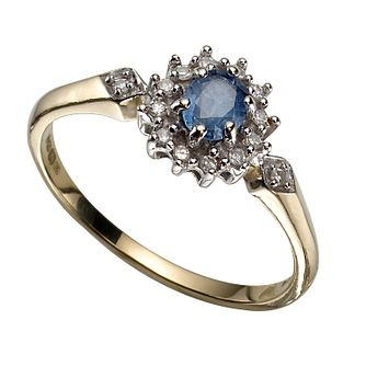 9ct Gold Ceylon Sapphire & Diamond Cluster Ring - Product number 3536742