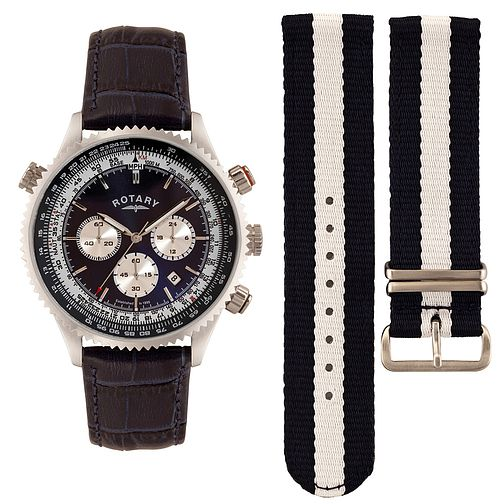 Rotary Men's Interchangeable Leather & Canvas Strap Watch - Product number 3542610