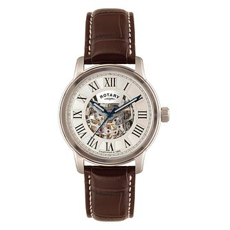 Rotary Men's Silver Skeleton Dial Brown Leather Strap Watch - Product number 3542696