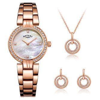 Rotary Ladies' Rose Bracelet Watch, Pendant & Earrings Set - Product number 3542742
