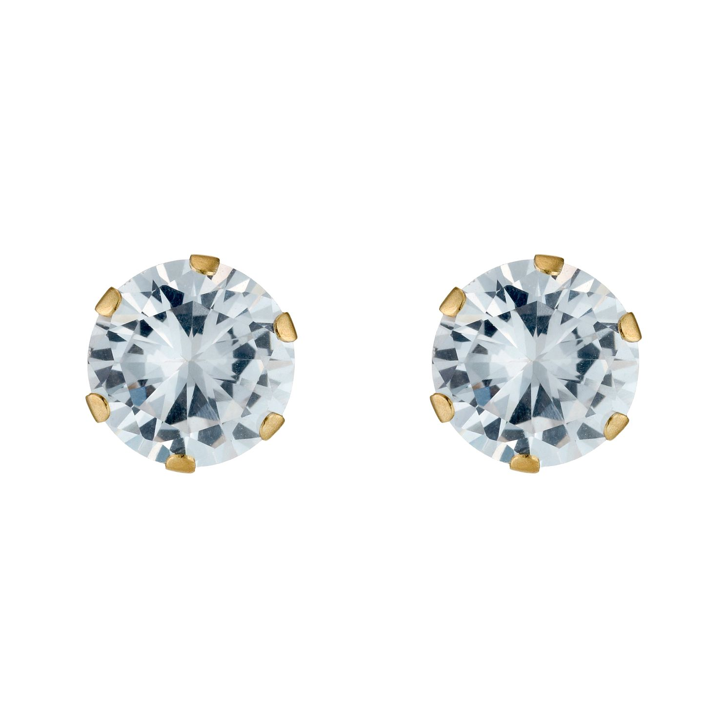 9ct Gold Cubic Zirconia Round Claw Set Stud Earrings - Product number 3548848