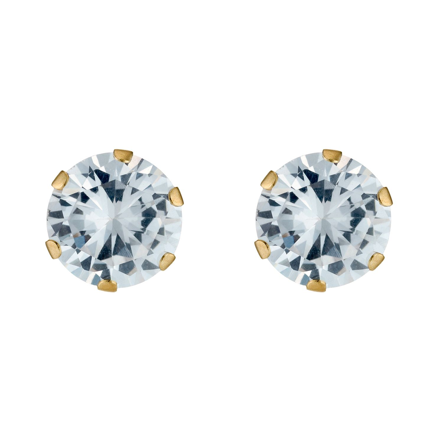 9ct Yellow Gold Cubic Zirconia 7mm Stud Earrings - Product number 3548880