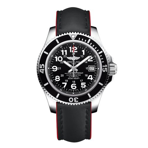 Breitling Superocean II 42 Men's Black Leather Strap Watch - Product number 3549992