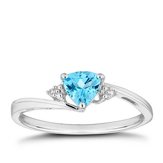 18ct Yellow Gold Diamond & Trillion-Cut Blue Topaz Ring - Product number 3555682