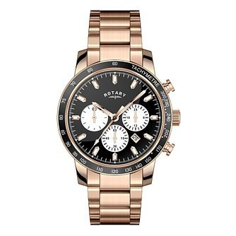 Rotary Men's Black Dial Rose Gold-Plated Bracelet Watch - Product number 3562646