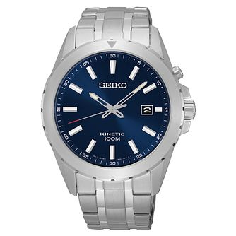 Seiko Kinetic Men's Navy Dial Stainless Steel Bracelet Watch - Product number 3562751