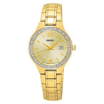 Seiko Ladies' Stone Set Gold-Plated Bracelet Watch - Product number 3562808