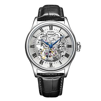 Rotary Men's Skeleton Black Leather Strap Watch - Product number 3565823