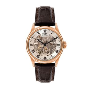 Rotary Men's Skeleton Leather Strap Watch - Product number 3565866