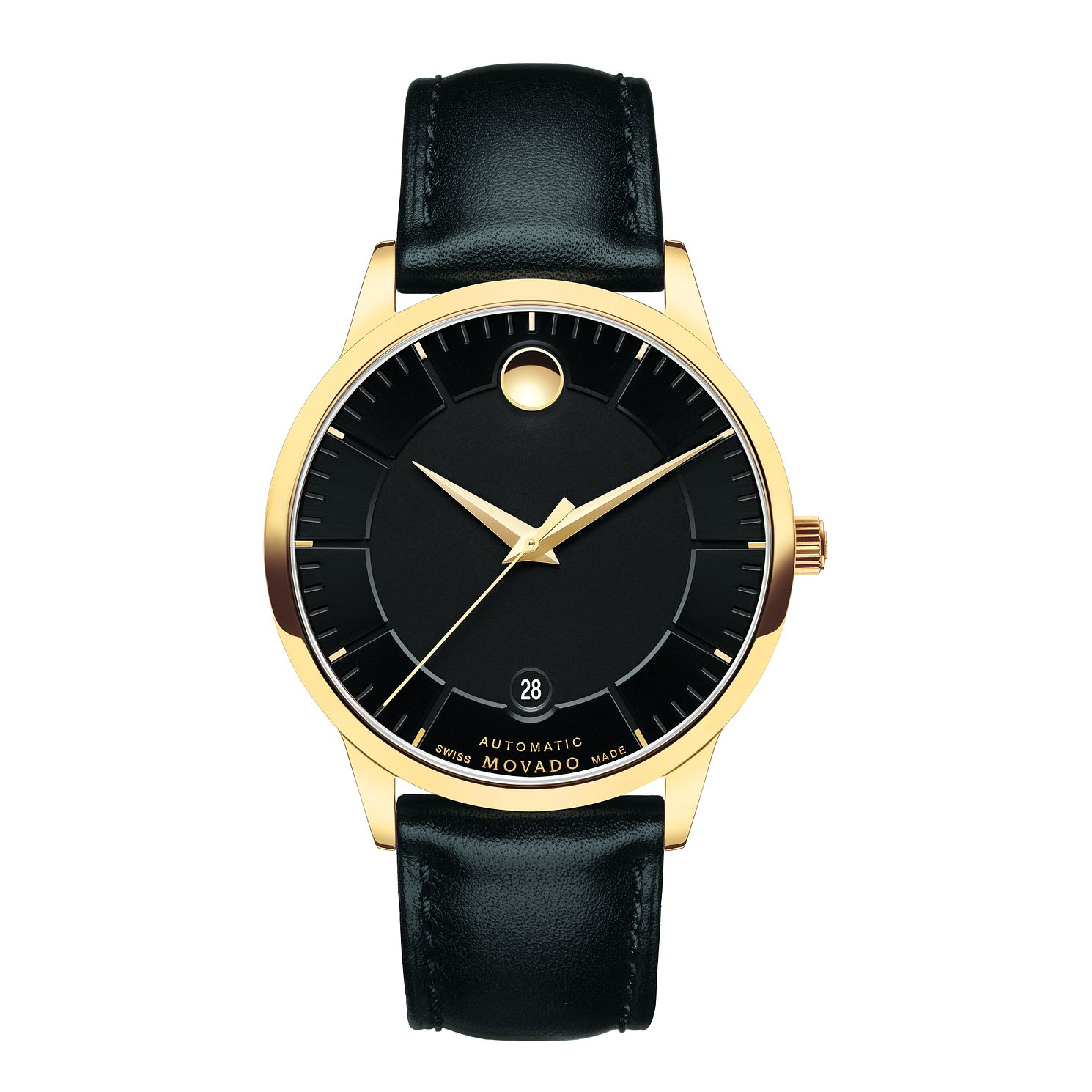 Movado 1881 men's gold-plated black dial strap watch - Product number 3572013
