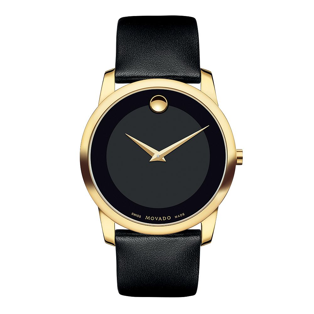 Movado Museum Men's Gold-Plated Black Dial Strap Watch - Product number 3572366