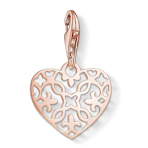 Thomas Sabo Ladies' Rose Gold Plated Filigree Heart Charm - Product number 3572730