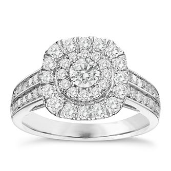 18ct White Gold 1ct Diamond Double Halo Ring - Product number 3572773