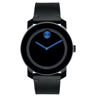 Movado Bold men's ion-plated TR90 black leather strap watch - Product number 3573400