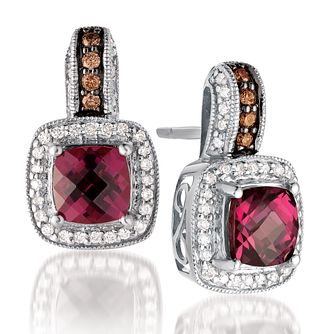 Le Vian 14ct Vanilla Gold diamond & rhodolite earrings - Product number 3573842